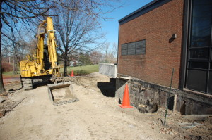 The excavation outside the band and orchestra rooms has already begun.