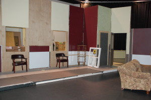 The set is still under construction for the upcoming production The Odd Couple. The Tech Crew will work long hours to make sure that the show runs smoothly.