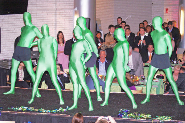 Six Marketing Students dance at the Eco Gala event. Photo courtesy of The Green Dream