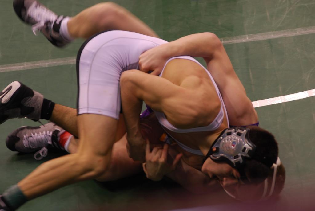 Ryan Harris struggles with his opponent at the state tournament. Photo courtesy of Debbie Harris
