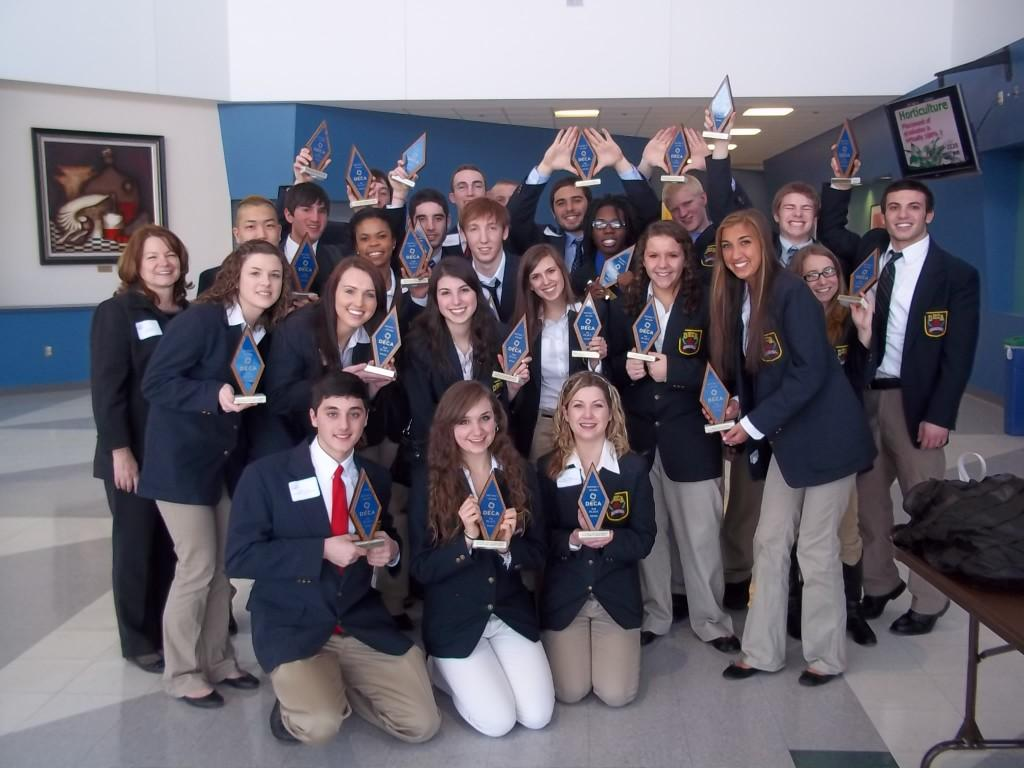 Jean Getz's marketing students celebrate with their trophies. Photo courtesy of Jean Getz.
