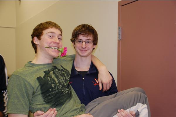 Senior Jared Seidel and Junior Jake Lowencamp celebrate Valentine's Day