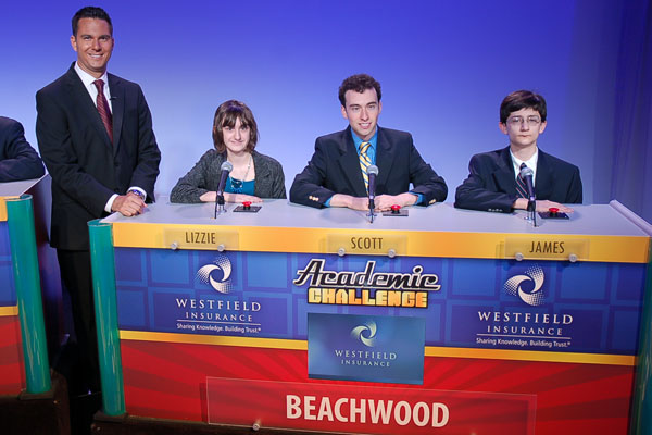 Beachwood's 2012 team won the national championship. The team included Lizzie Bream, Scott Remer and James Starkman, pictured here in a  Channel 22 television appearance.