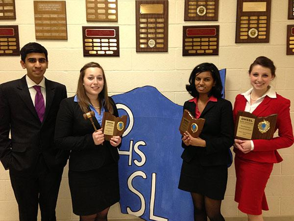 The BHS speech & debate team pictured at the state tournament in 2013. From left to right: Varun Jambanath, Beth Moses, Anshika Niraj and Jessie Gill.