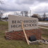 The slanted signs were designed to mirror the architectural cues of the high school building. Photo by Grant Gravagna.