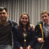 Assistant coach Jove Tse, Co-President Samantha Shaffer and sophomore Daniel Mishins at the Chagrin Falls and Solon speech and debate tournament. Photo courtesy of Steven Shaffer.