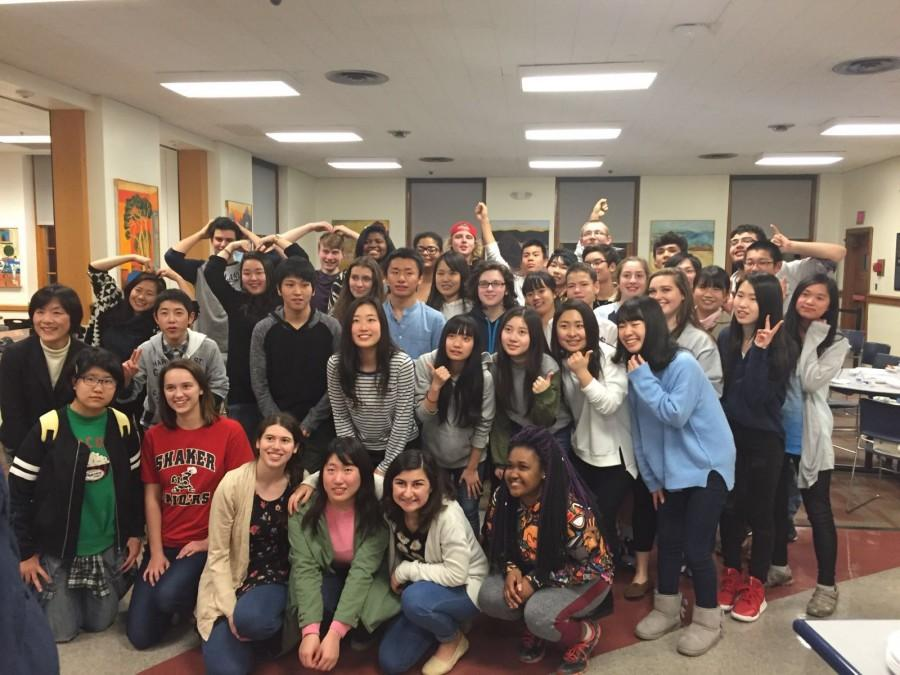 Host students with Takatori guests at Shaker Heights High School on March 8. Photo by Hadrian Djohari.