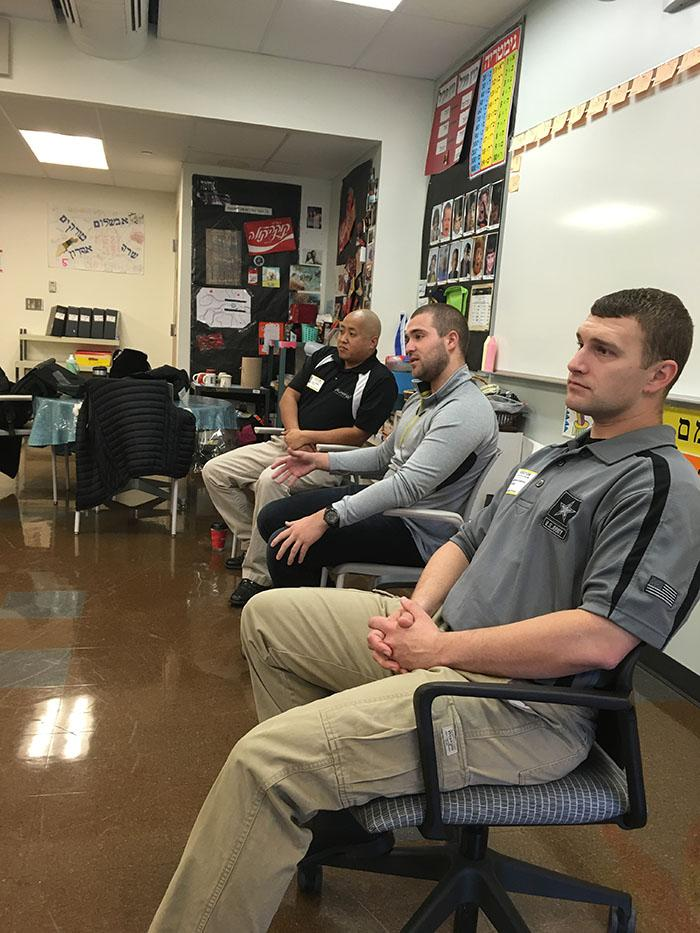 A member of the Israeli IDF joined two US army recruiters speaking to the 6/7 Hebrew class on Nov. 30. Photo courtesy of Irit Slain.