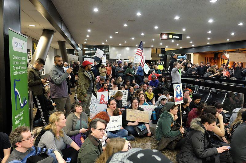 Protesters+gathered+at+Seattle-Tacoma+Airport+and+at+airports+around+the+country+to+protest+Trump%27s+travel+ban+on+Jan.+28.+Photo+by+Dennis+Bratland+via+Wikimedia+Commons.