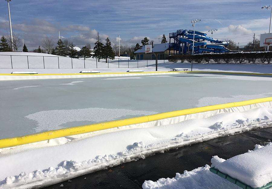 Beachwood's outdoor basketball courts have been transformed into a  skating rink. Photo by Prerna Mukherjee.