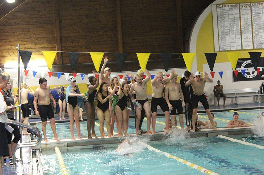 Bison+swimmers+cheer+on+their+teammates+at+the+CVC+championship+meet+on+Jan.+21.+Photo+by+Gabriela+Colovan+Costa