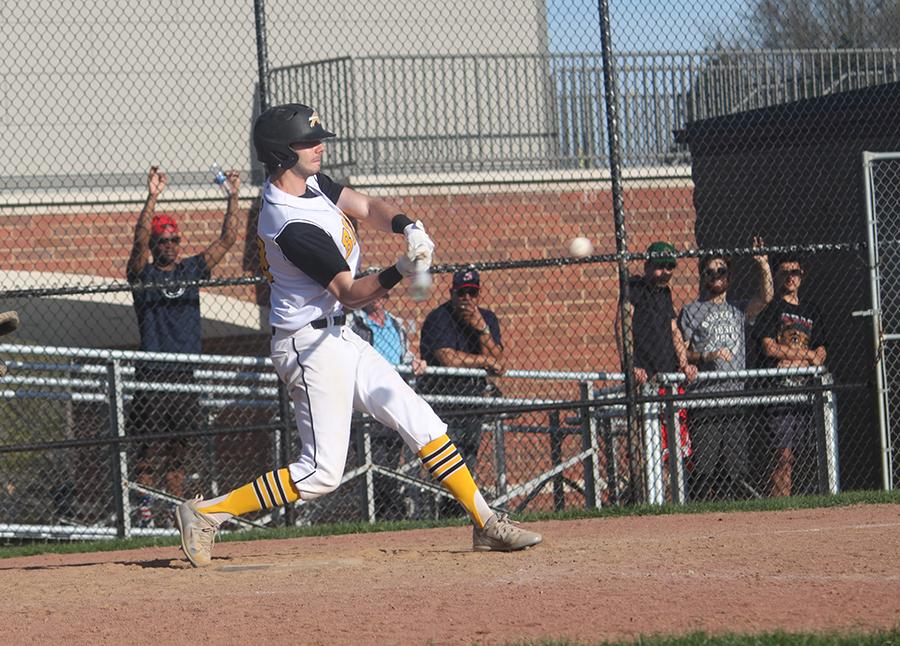 Senior pitcher Aden Stern swings for a hit against Orange on April 18. Photo by Livi Eppell.