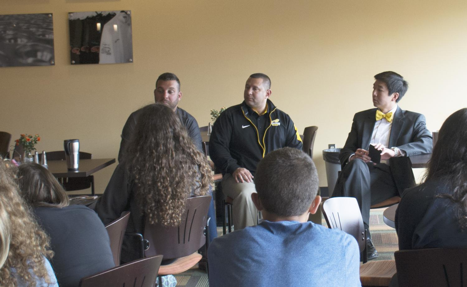 Asst. Principal Ryan Patti, Athletic Director Ryan Peters and Principal Tony Srithai met with students Wednesday for this year's first open forum. Photo by Gabriela Covolan Costa