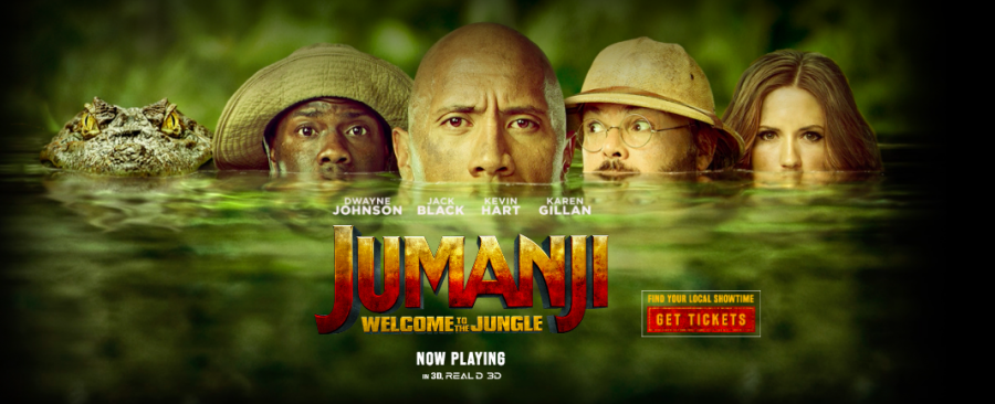 Jumanji may be a video game movie, but it flips the stereotype on its head. Image source: http://www.jumanjimovie.com/site/