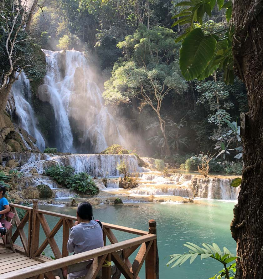 Gugick and his students hiked to Kuang Si falls in Laos. Photo from 80daze blog, courtesy of Arthur Gugick.
