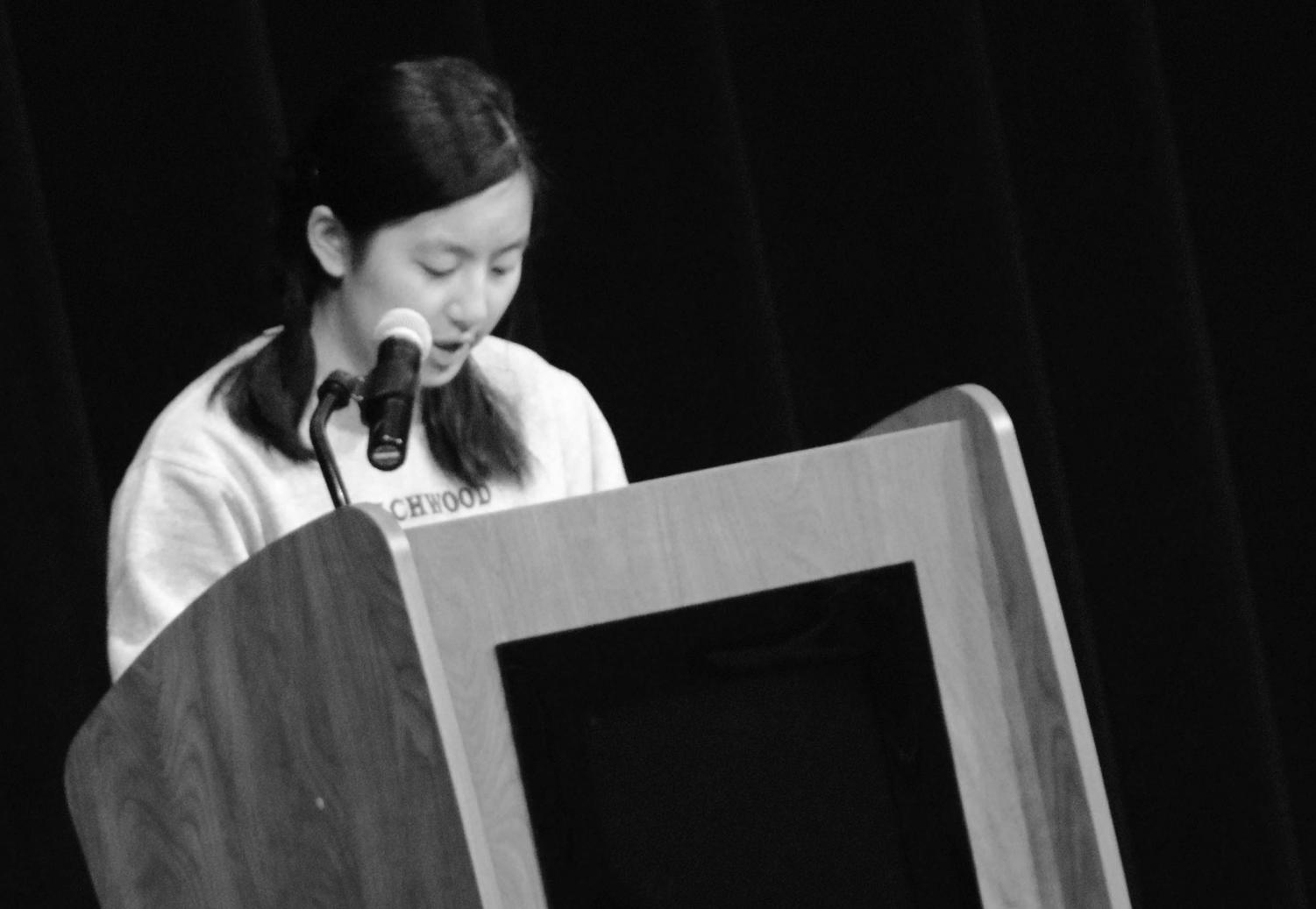 Student Council Exec Board President-Elect Jing-Jing Shen addressed the student body at the presentation of candidates on Friday, Feb. 23. Photo by Jemiah Richardson