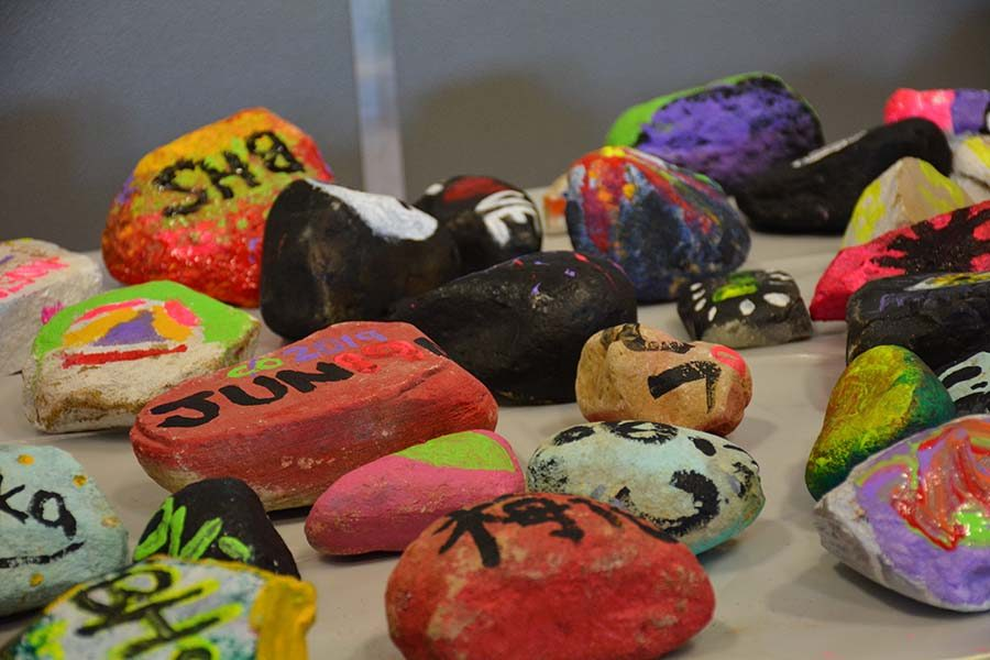 Students had the opportunity to paint rocks as part of the One Bison Campaign.