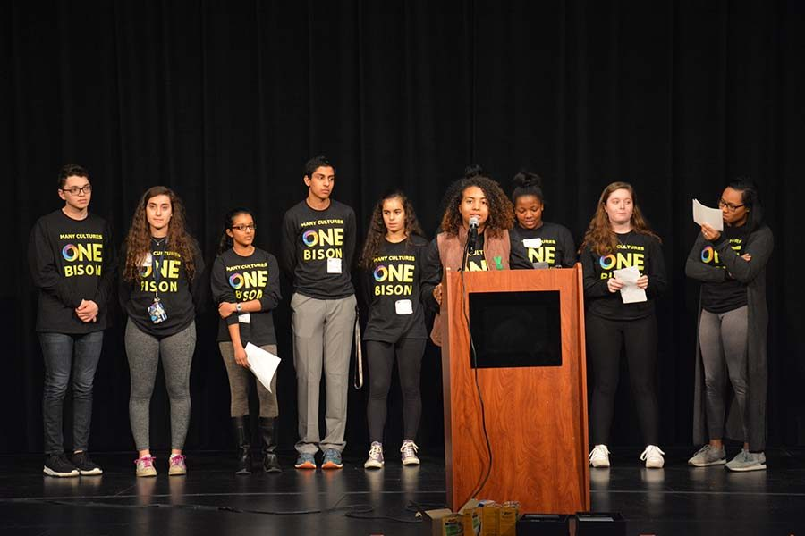 Senior Katelyn Perryman addresses the school at the One Bison Summit on March 22. Photo by Amy Chen.
