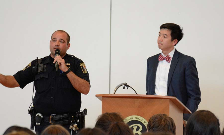 Police Officer C.J. Piro,  Beachwood City Schools' Director of Security, joined Principal Tony Srithai at Thursday's Open Forum to explain why he feels it is important to close campus. Photo by Alex Shupp