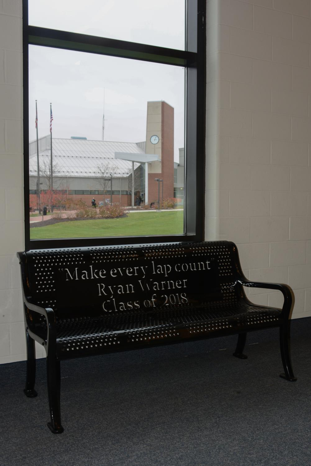One of the Ryan Warner memorial benches will be installed outside when the weather warms. Photo by Matthew Keyerleber