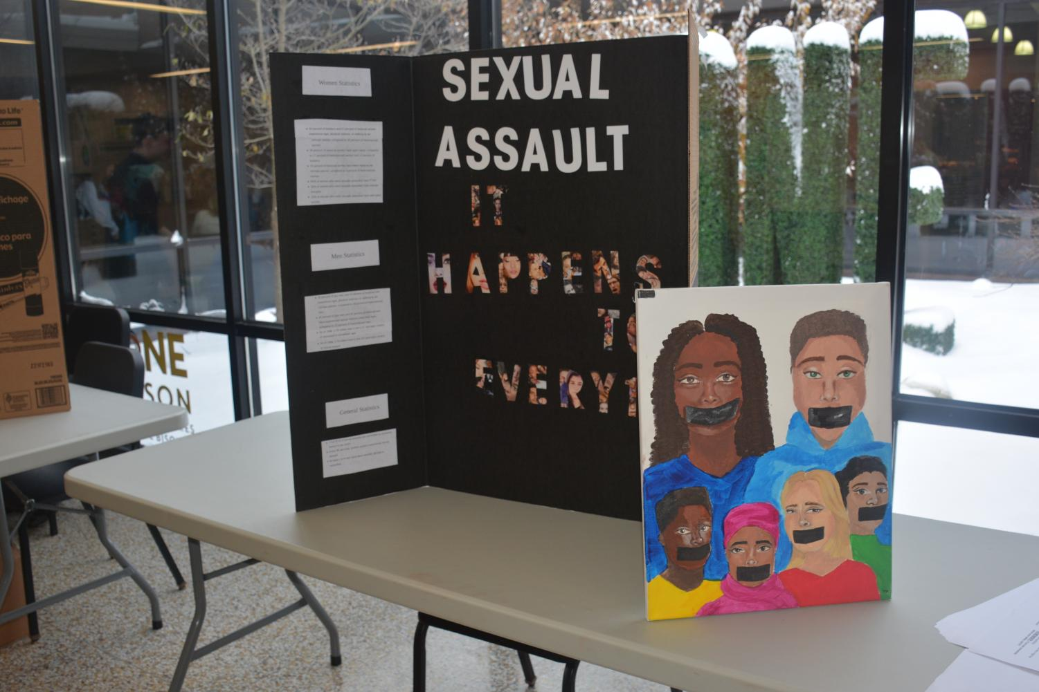 One group including Sema Altawan and Teilah Simon completed a project to raise awareness on the issue of sexual assault. Photo by Nakita Reidenbach