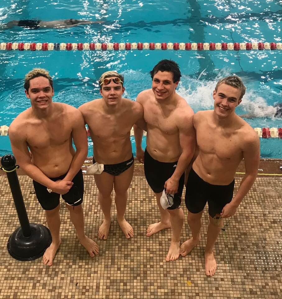 From left: Grady Bystrom, Spencer Bystrom, Matthew Keyerleber and Gabe Colmenares. The relay team advanced to the state tournament in both 200 IM and 200 freestyle. Spencer Bystrom and Colmenares also advanced in 50 freestyle. Photo by Missy Bystrom.