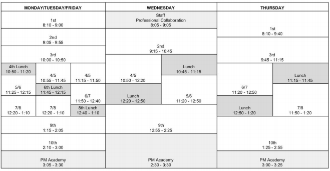 Administration Announces New Bell Schedule
