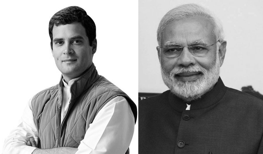 Rahul Gandhi (left) of the INC faces Narendera Modi of the BJP. Images from Wikimedia Commons