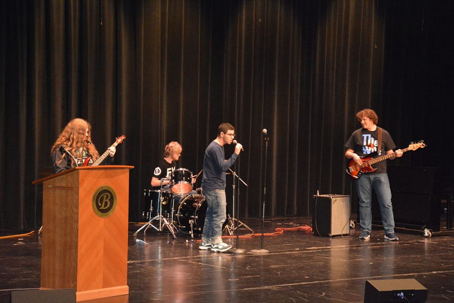 Josh Hutchins, Ethan Jeffers, Ben Saul and Jake Lawrence perform classic hits by Green Day and the Scorpions.