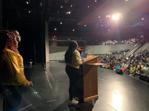 Junior Carrington Peavy addresses the school at the black history month assembly on Feb. 21.