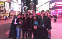 Members of the Model UN team in Times Square during the Columbia University Conference in January. Photo courtesy of Ben Lewin.