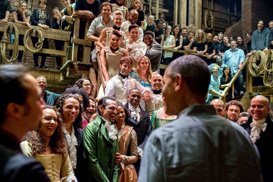 President Obama meeting the cast of Hamilton in 2015.
