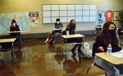 Students in Dominic Velotta's AP Psychology class are masked, socially distanced and ready to learn.