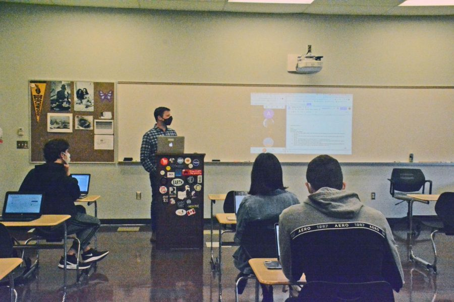 Students in Todd Butler's senior English class have  been able to attend in-person classes with masks, social distancing and a variety of other precautions.