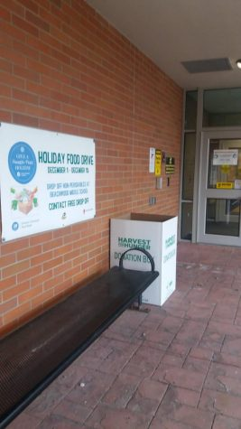 The district used boxes placed outside the middle school to collect donations for the Greater Cleveland Food Bank.