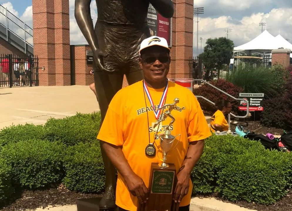 Coach Smith pictured in 2019 in Columbus at the Jesse Owens Memorial Track & Field Stadium.