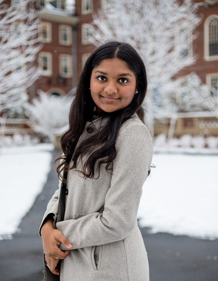 Swathi Srinivasan in Nov. 2020 at Harvard University, where she is earning a double major in social studies and the history of science.