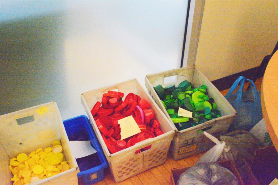 Students have collected and sorted thousands of bottle caps for the project.